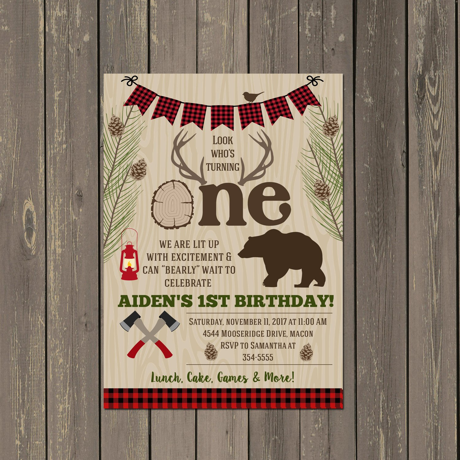 Lumberjack Ist Birthday Invitation with Antlers and Bear, Base price is for a set of 10 5x7 cardstock invitations with white envelopes