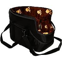 BLACK with BROWN FUR CARRY BAG SHOULDER TRAVEL CARRIER DOG PUPPY CAT PET ANIMAL (LARGE)