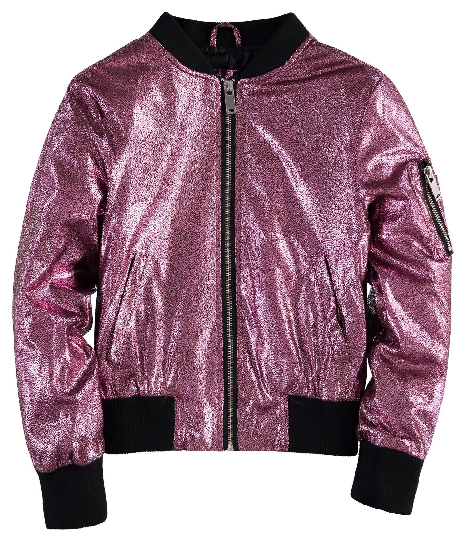 Urban Republic Girls' Metallic Glitter Bomber Jacket (Light Pink, 10-12)