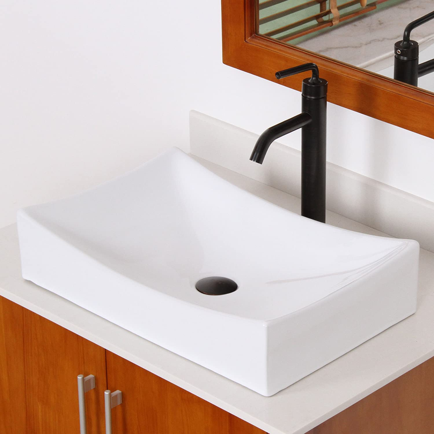 ELITE Bathroom Long Rectangle White Porcelain Ceramic Vessel Sink Basin U0026  Chrome Pop Up Drain     Amazon.com