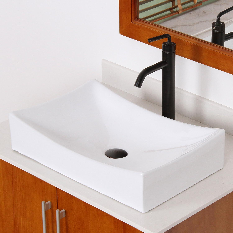 ELITE Bathroom Long Rectangle White Porcelain Ceramic Vessel Sink ...