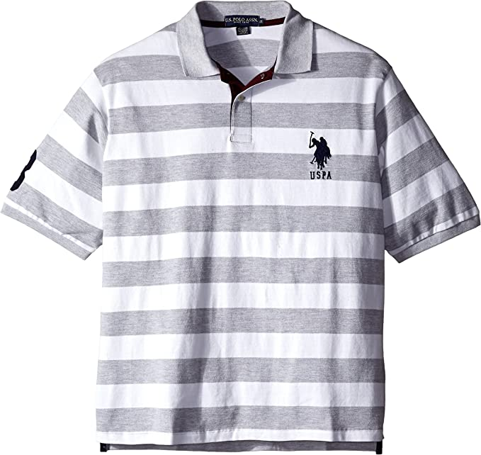 Polo Assn U.S Mens Big and Tall Big /& Tall Solid Slim Fit Pique Polo