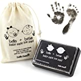 Baby Footprint Kit - Easy Clean Baby-Safe Black Ink Pad for baby hand prints and footprints