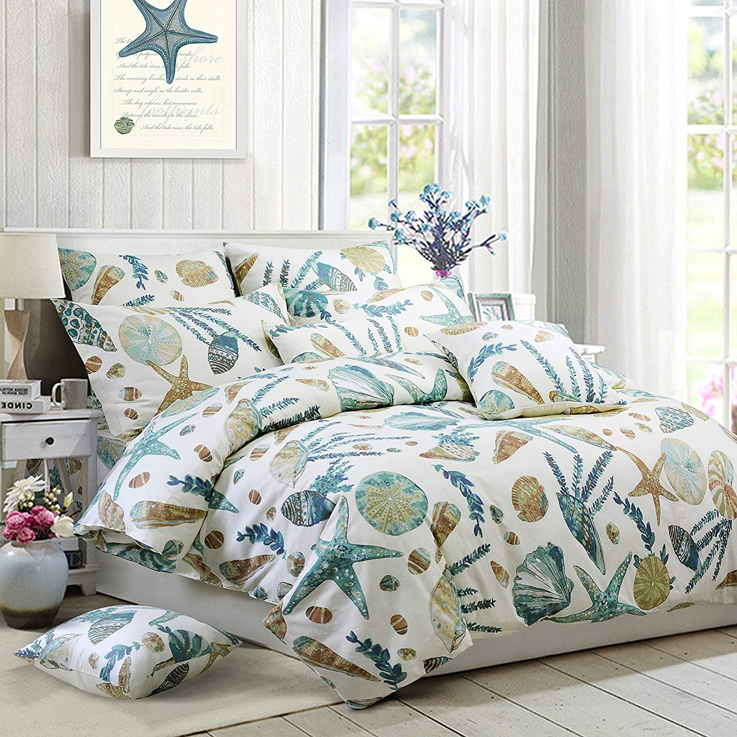 FADFAY Duvet Cover Set Queen Beach Themed Bedding Sets 100% Cotton Super Soft Coastal Bedding White Teal Seashells and Starfish Nautical Bedding with Hidden Zipper Closure 3 Pieces Queen Size