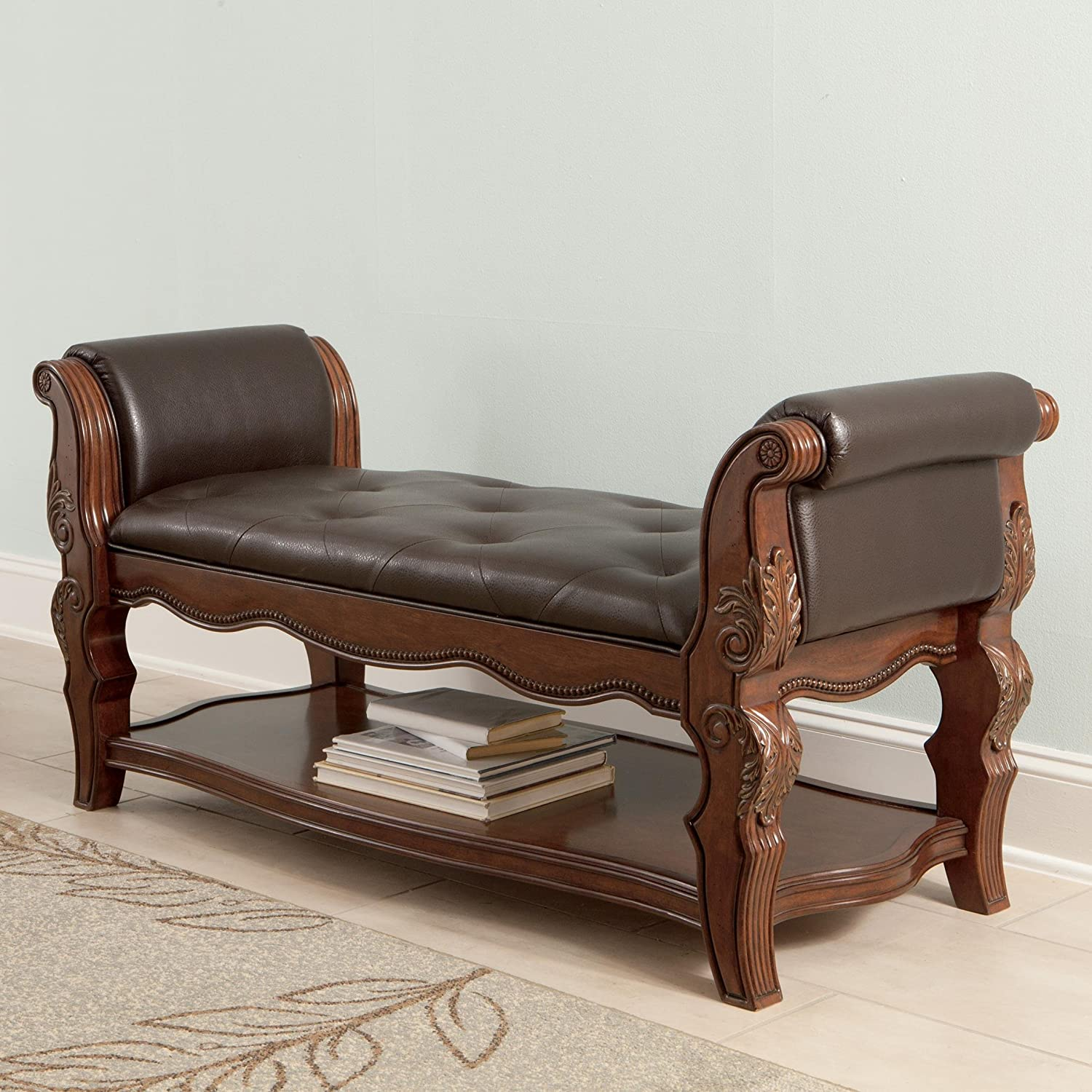 Amazon.com: Ashley B70509 Ledelle Upholstered Bench With Ash Swirl Birch  Veneers And Asian Hardwoods In: Kitchen U0026 Dining