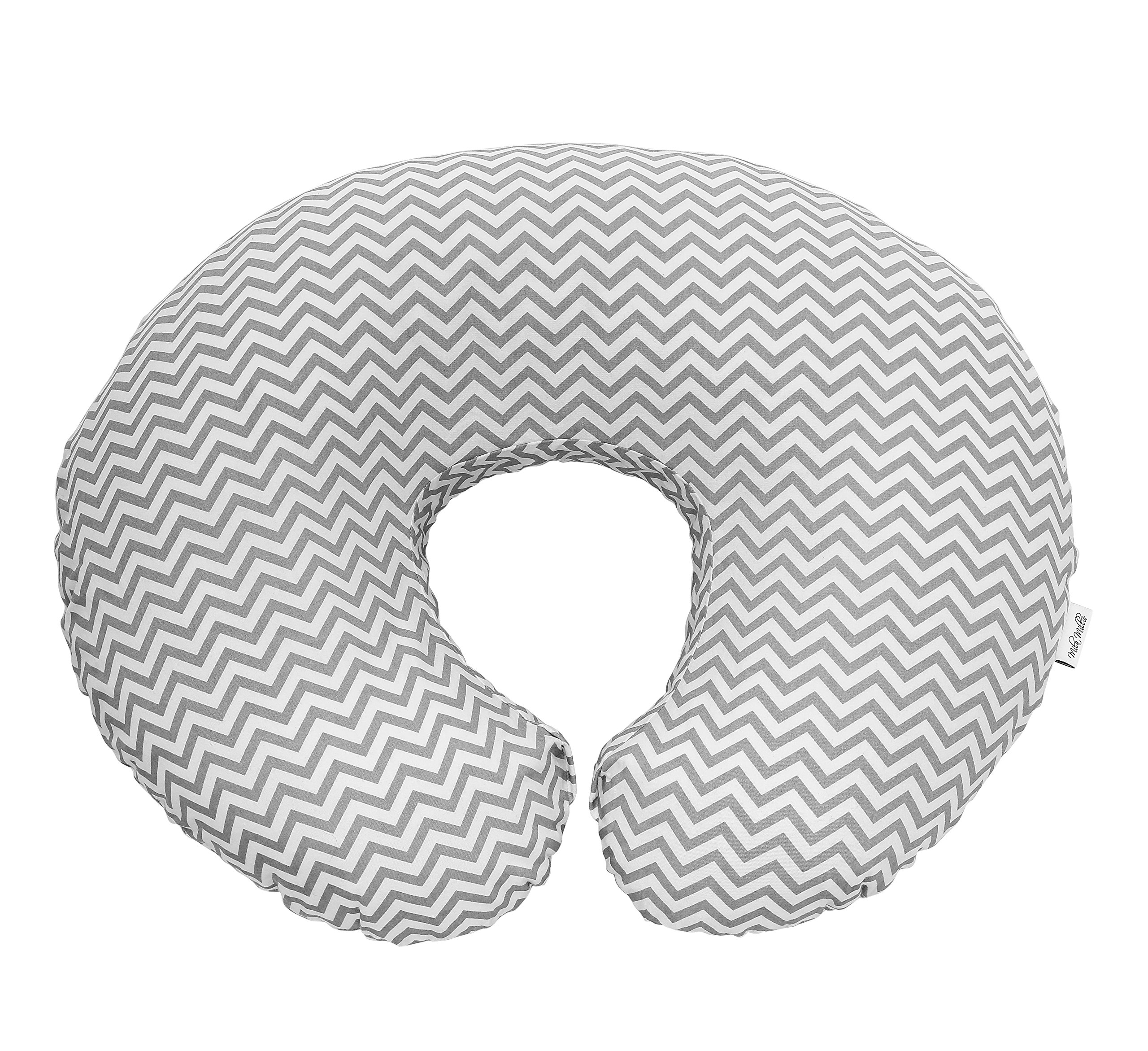 Premium Quality Nursing Pillow Cover by Mila Millie - Gray Chevron Unisex Design Slipcover - 100% Cotton Hypoallergenic - Great for Breastfeeding Mothers - Perfect Baby Shower Gift (Grey) by Mila Millie