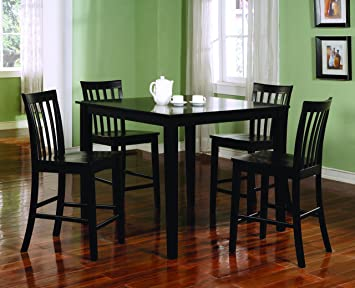 Amazoncom Coaster 5Piece Dining Set with 4 Barstools Black