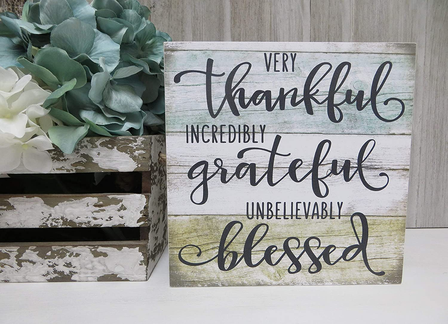 43LenaJon Wall Art Rustic Decor Wood Sign, Very Thankful, Incredibly Grateful, Unbelievably Blessed, Christian Home Decor, Fall Home Decor, Tiered Tray Sign 12x12 Inch U.S. Shipping