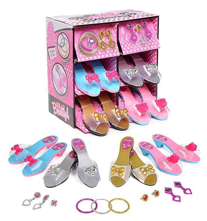 bcba119fcc9 Amazon.com  Fashionista Girl Princess Dress Up and Role Play Collection  Shoe set and Jewelry Boutique (12 Piece Dress up Set) Ages 3-10  Toys    Games