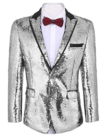 b42a85cdda Donet Men's Floral Party Dress Suit Notched Lapel Shiny Sequins Dinner  Jacket Wedding Blazer Prom Tuxedo