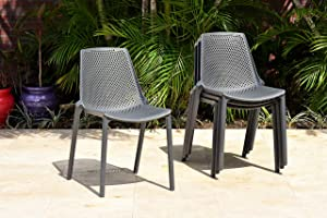 Amazonia Miami Patio Side Durable Outdoor and Indoor Resin Grey Chairs | Set of 4