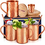 Moscow Mule Mugs Set Of 4 16 oz. Solid Genuine 100% Pure Copper Cups Cylindrical Shape :HANDCRAFTED in India,BONUS 4…