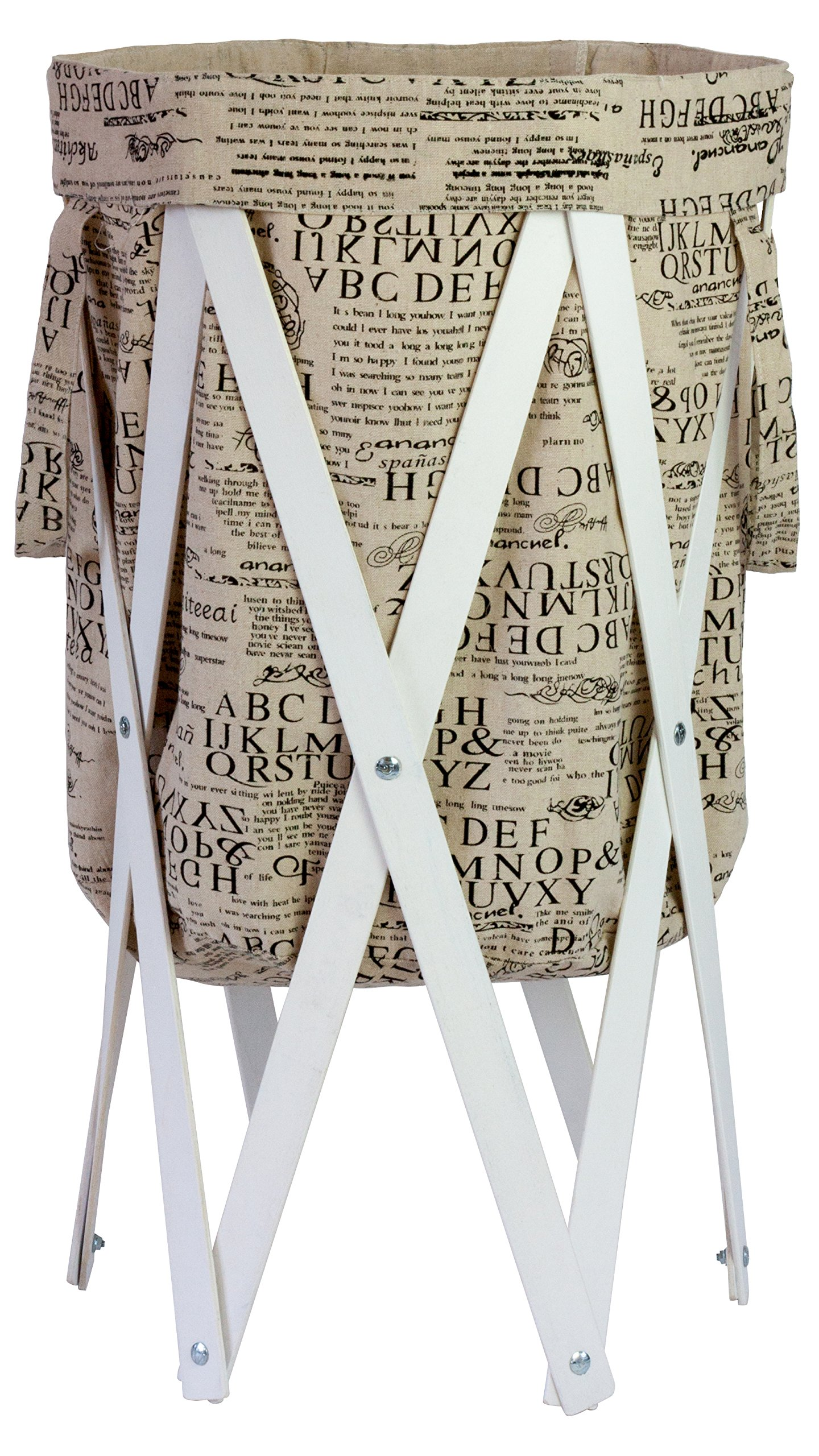 MAX + RAE Collapsible Laundry Hamper with White Wood Frame | Dirty Clothes Storage | Removable Fabric Bag with Handles, Easy to Carry and Clean | Nursery, Kids Bedroom, Bathroom (Typography)