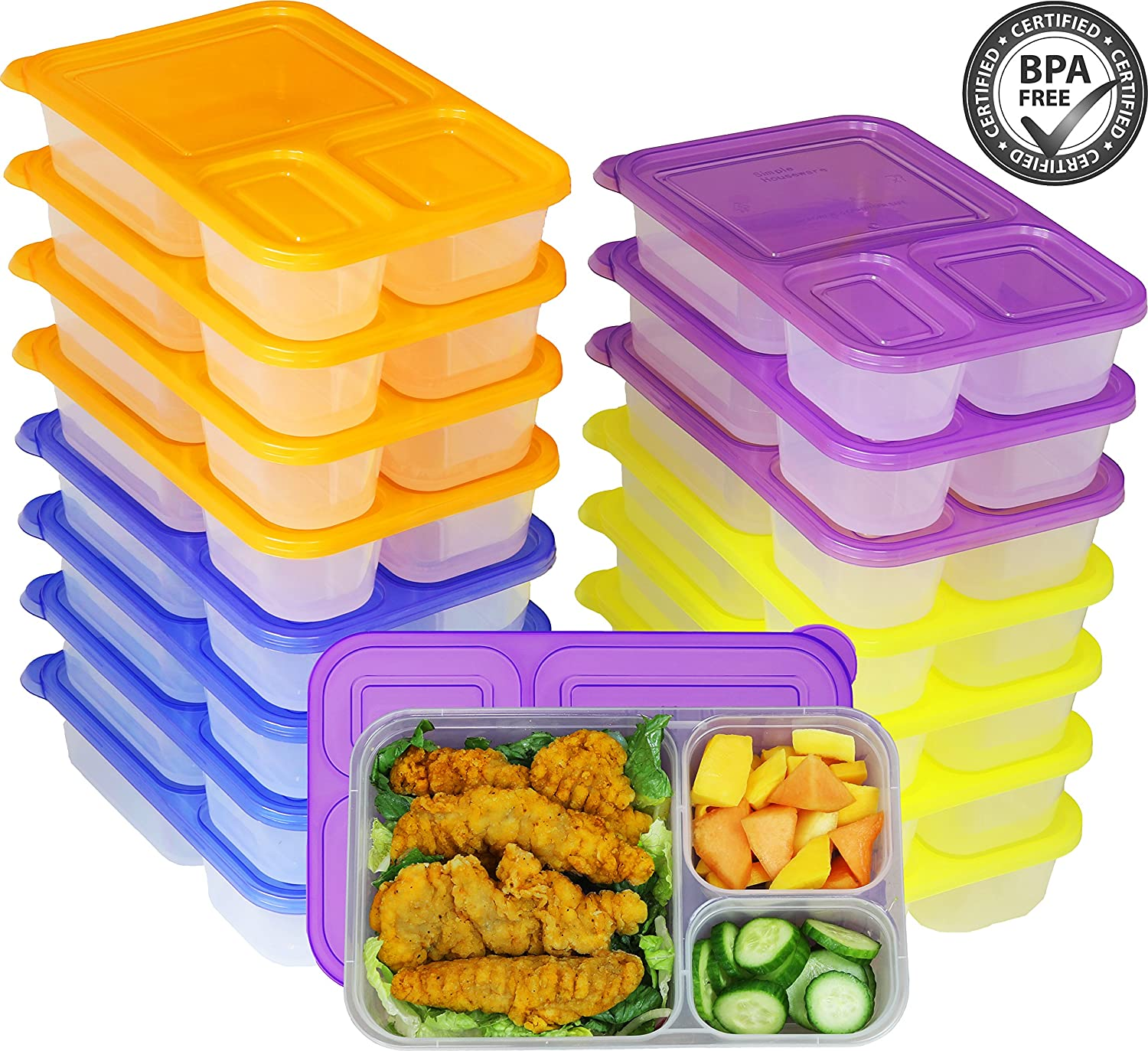 6 Pack - SimpleHouseware 3-Compartment Heavy Duty Bento Lunch Container Boxes, 36 ounces, 4 Color Simple Houseware KF-006-1