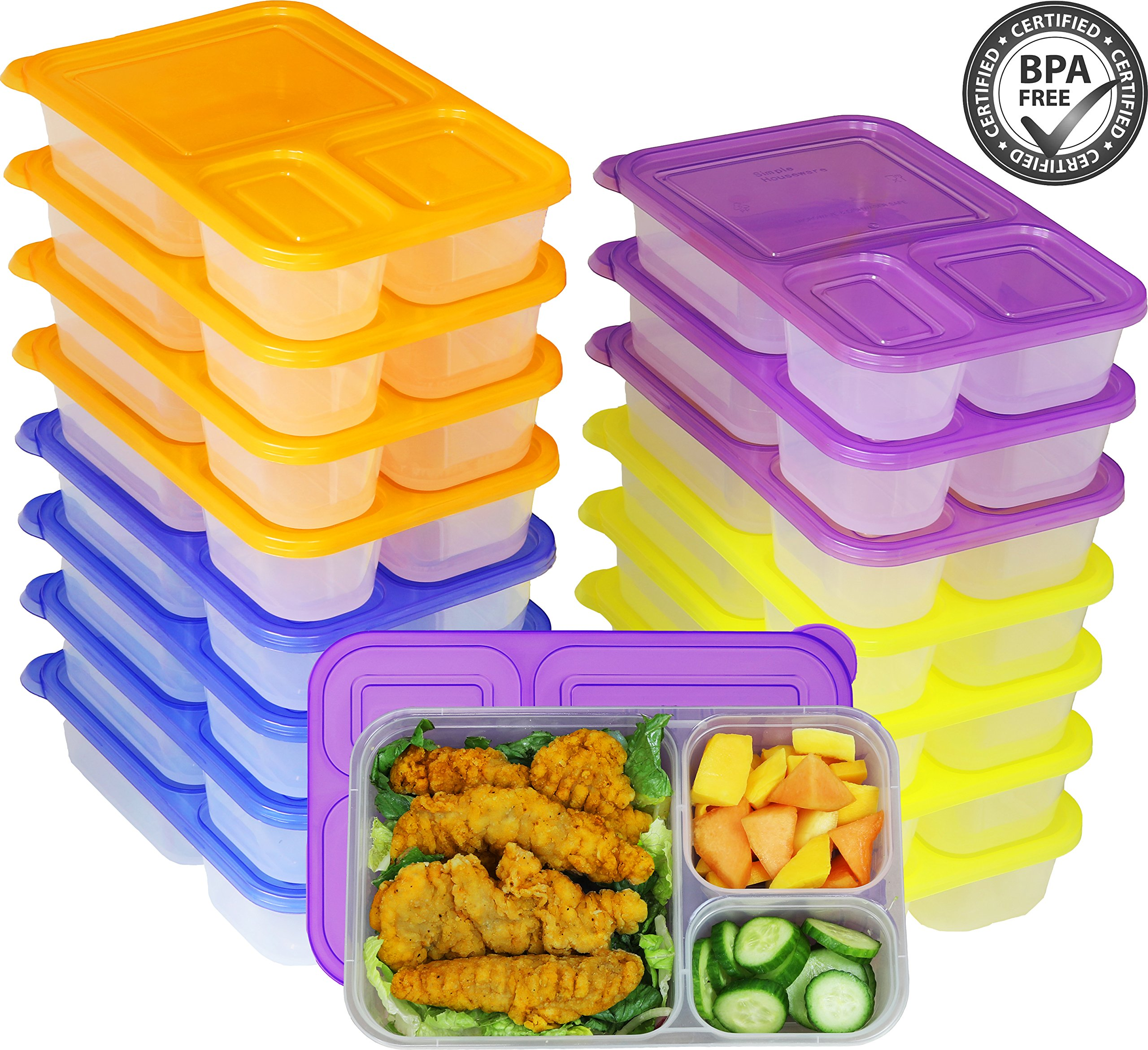 16 Pack - SimpleHouseware 3-Compartment Heavy Duty Bento Lunch Meal Prep Container Boxes, 36 ounces, 4 Color