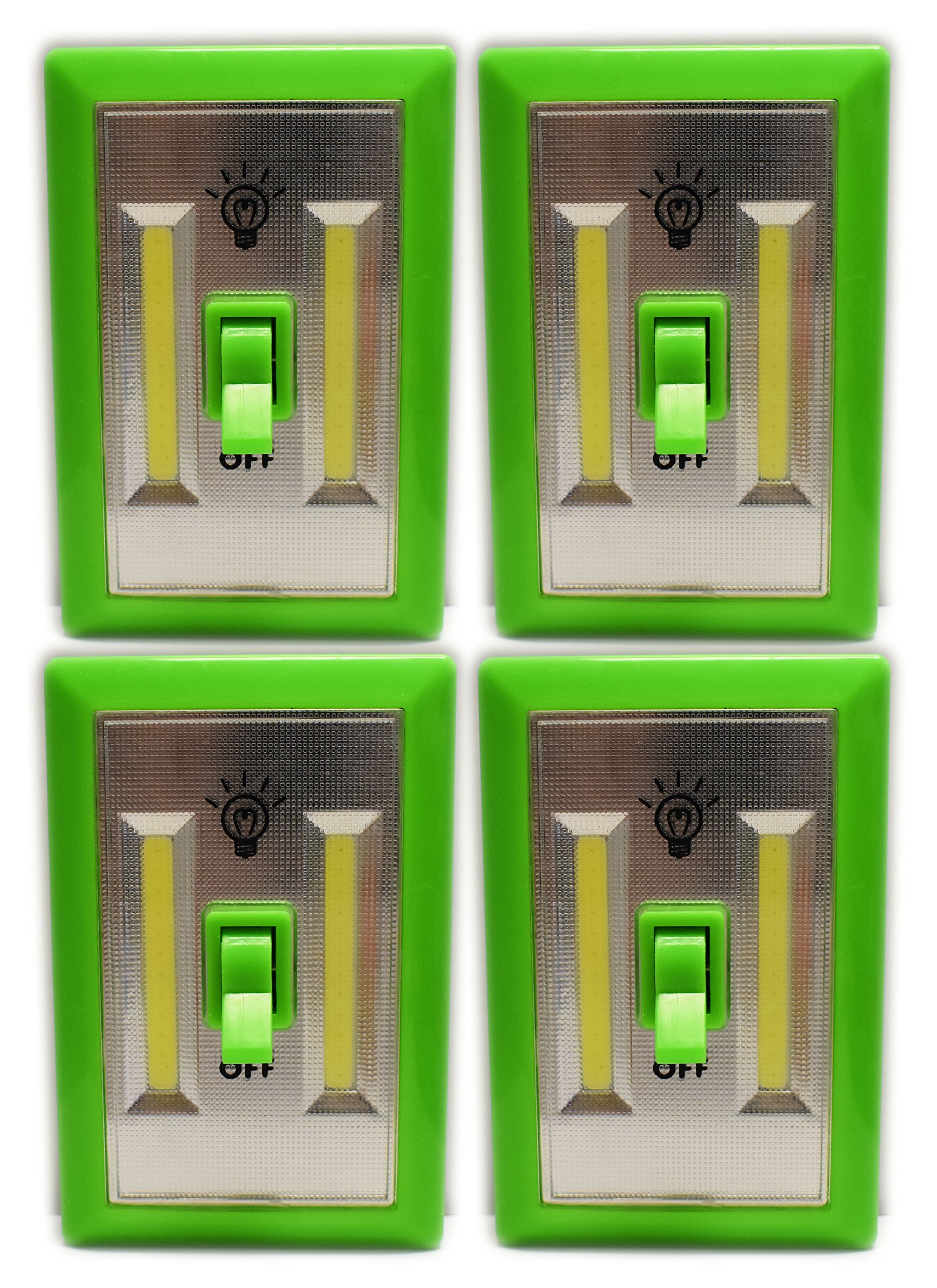 Set of 4 Crazy Colors Cob LED Night Light With Switches - ULTRA BRIGHT - New LED Technology - Super Bright LED Lights - Project Light - Night Light - 200 Lumens (Green 4 Pack)