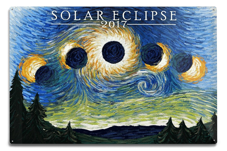 (12 x 18 Metal Sign)Solar Eclipse 2017Starry Night (12x18 Aluminium Wall Sign, Wall Decor Ready to Hang) B071W7S6V5 12 x 18 Metal Sign12 x 18 Metal Sign