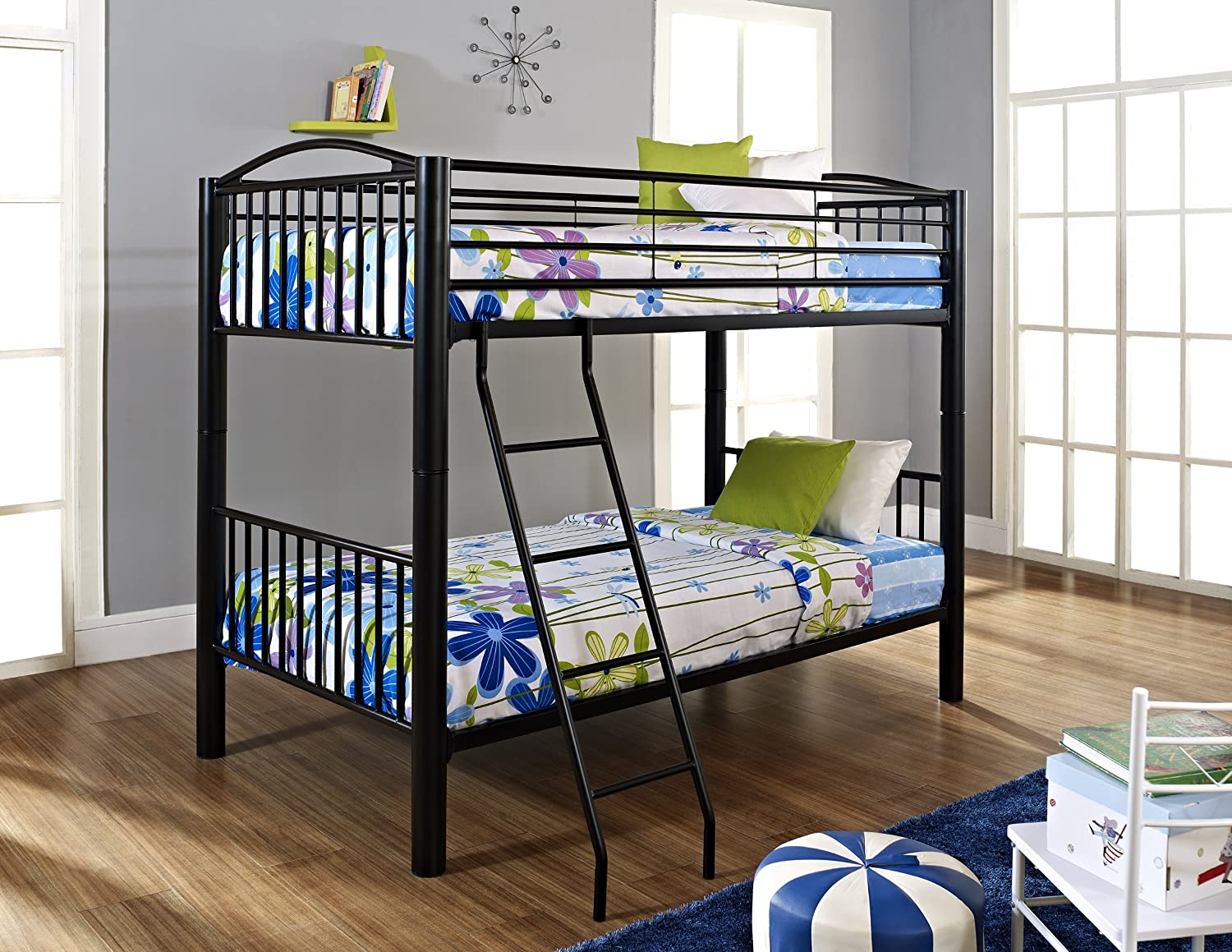 Amazon Powell Heavy Metal Black Twin Over Bunk Bed Kitchen Dining