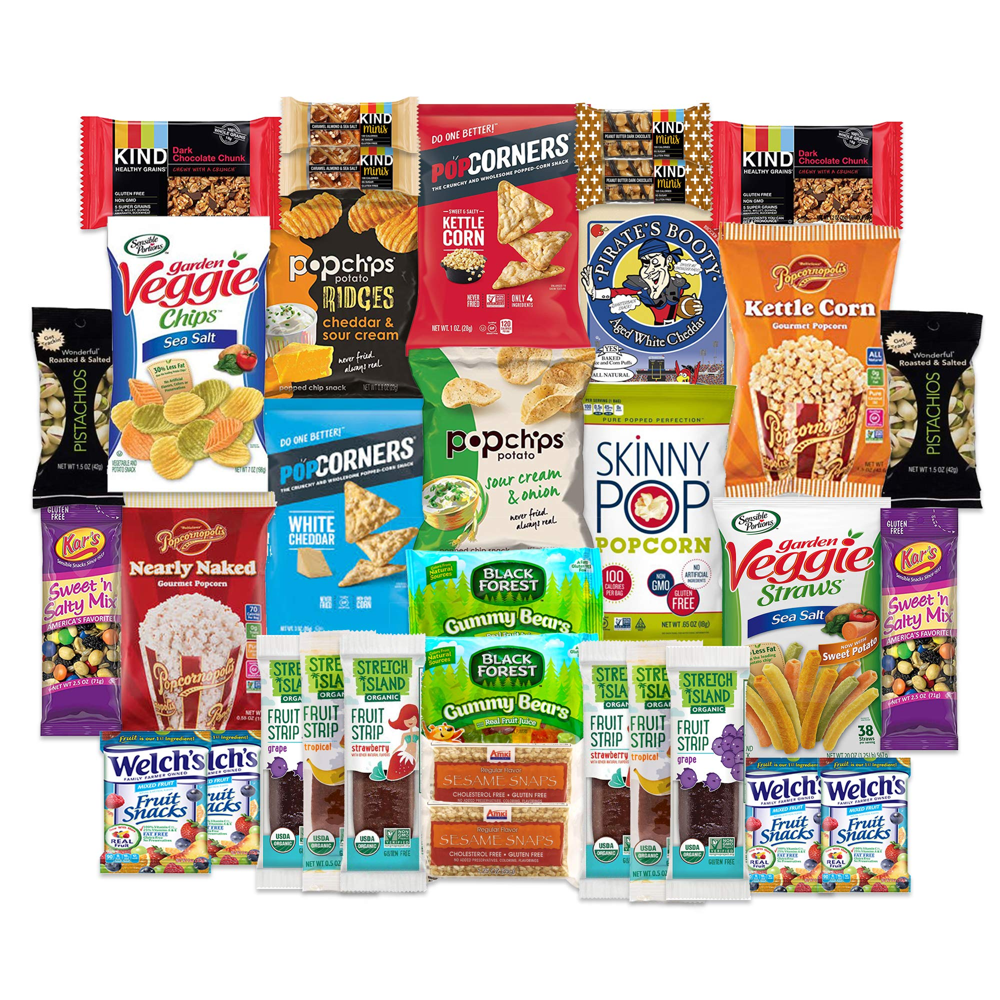 SnackBOX Gluten Free Healthy Snacks Care Package for College Students, Mothers Day, Military, Finals, Office and Gift Ideas. Over 3 LBS of Chips, Popcorn, and granola Bars. (34 Count)