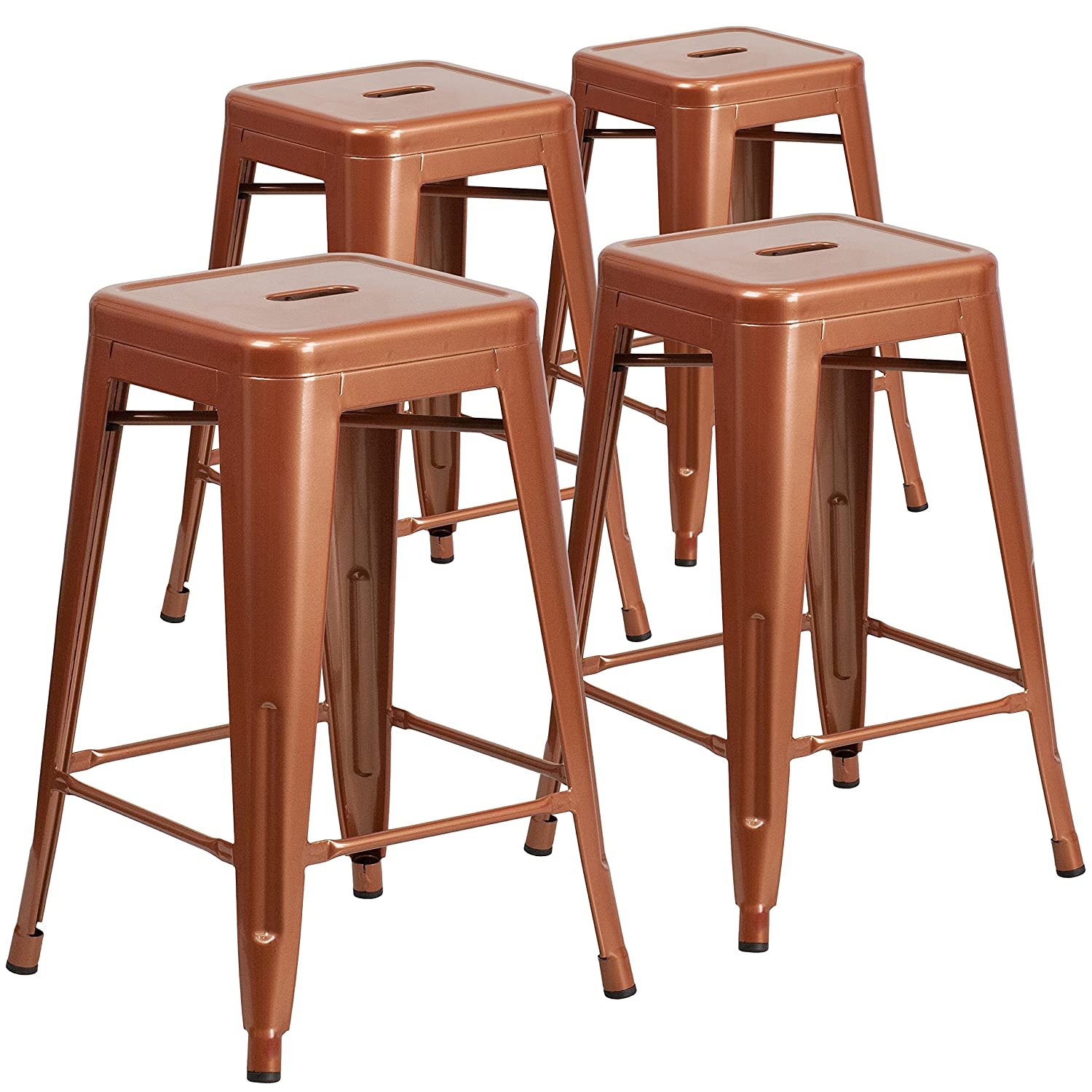 Amazon com flash furniture 4 pk 24 high backless copper indoor outdoor counter height stool kitchen dining