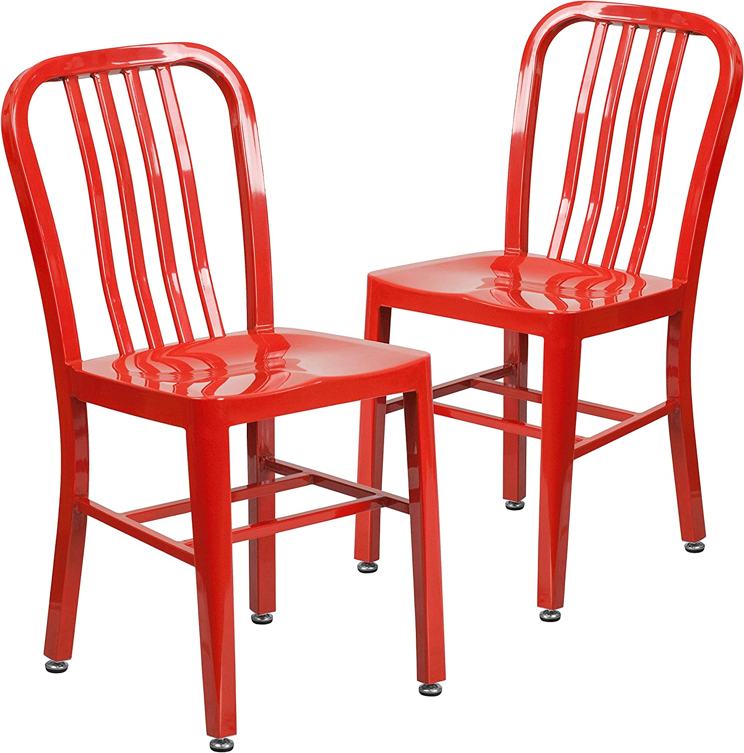 Flash Furniture 2 Pack Red Metal Indoor-Outdoor Chair