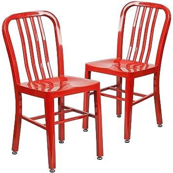 Flash Furniture 2 Pk. Red Metal Indoor Outdoor Chair