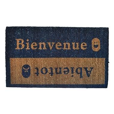 Imports Décor 516PVC Bienvenue Abientot Vinyl Back Coir Doormat, 18-Inch by 30-Inch