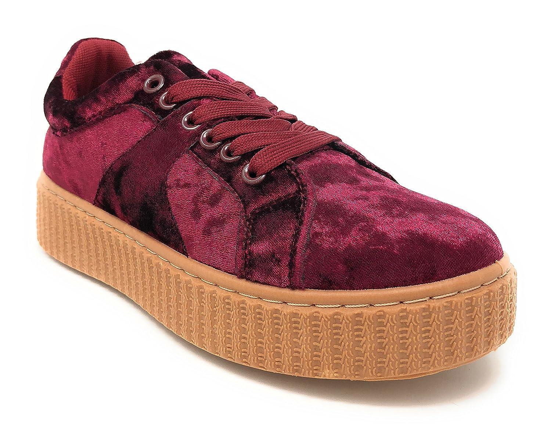 Pink Label Women's Stylish Chic Lace-up Velvet Fashion Sneaker B077Y4MC24 10 B(M) US|Wine