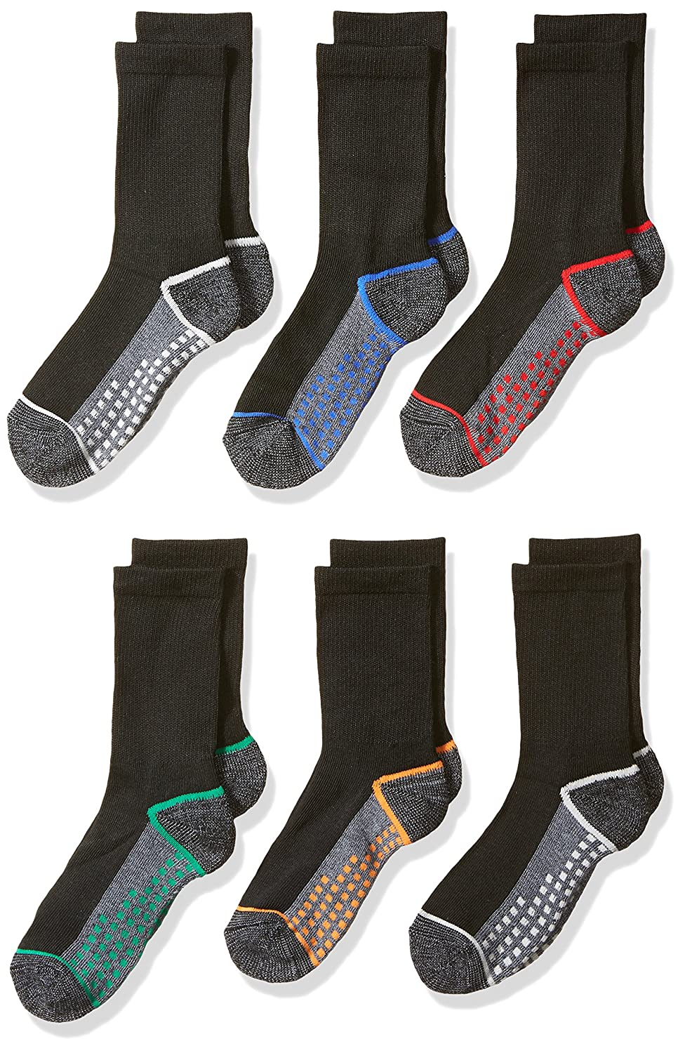 Fruit of the Loom Big Boy's 6 Pack Dotted Crew Socks Black/ Grey Shoe Size 9 to 2.5 C8603B6-C