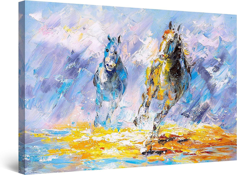 Startonight Cuadro Moderno en Lienzo Pintura Abstracta y Azul, Caballos, para Salon Decoración Grande 80 x 120 cm
