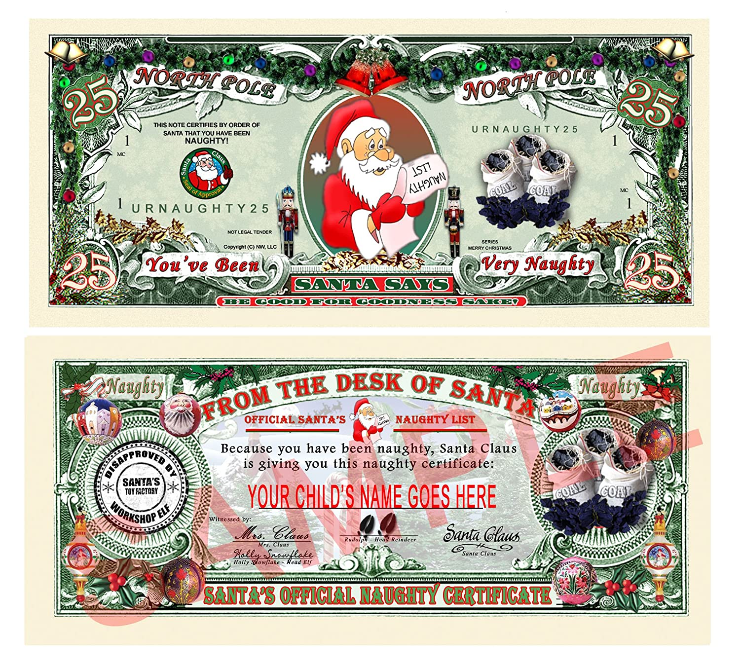 Amazon set of 25 santas official naughty and nice list amazon set of 25 santas official naughty and nice list certificates give one out each day during christmas toys games xflitez Gallery