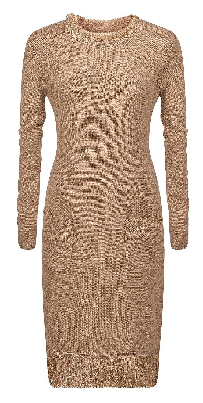 Women's Pure Cashmere Knitting Autumn/Winter Dress with Tassel Decor