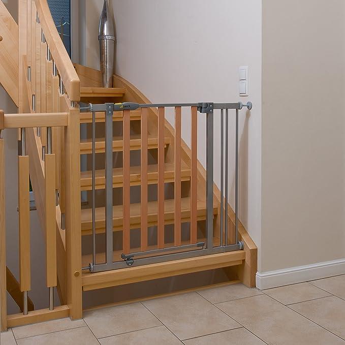 Hauck Wood Lock - Puerta de seguridad para escaleras 75-80 cm, ampliación con extensiones de 9 cm y 21 cm, sin agujeros, combinable con Y-Spindel para ...