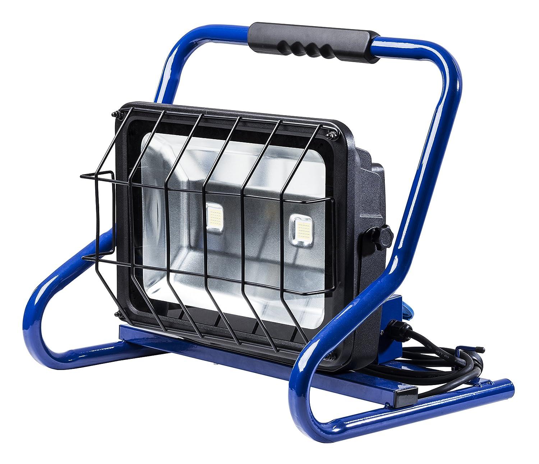 80 W as 230 V Schwabe 46928 Mobiler Baustrahler CHIP-LED-Strahler 80W mit 2-Fach Steckdose