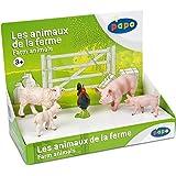 Papo - 80300 - Figurine - Animaux - Animaux de la Ferme 1 - Boîte Présentoir - Verrat / Cochonnet Mâle / Brebis Mérinos / Agneau Mérinos / Coq Gaulois