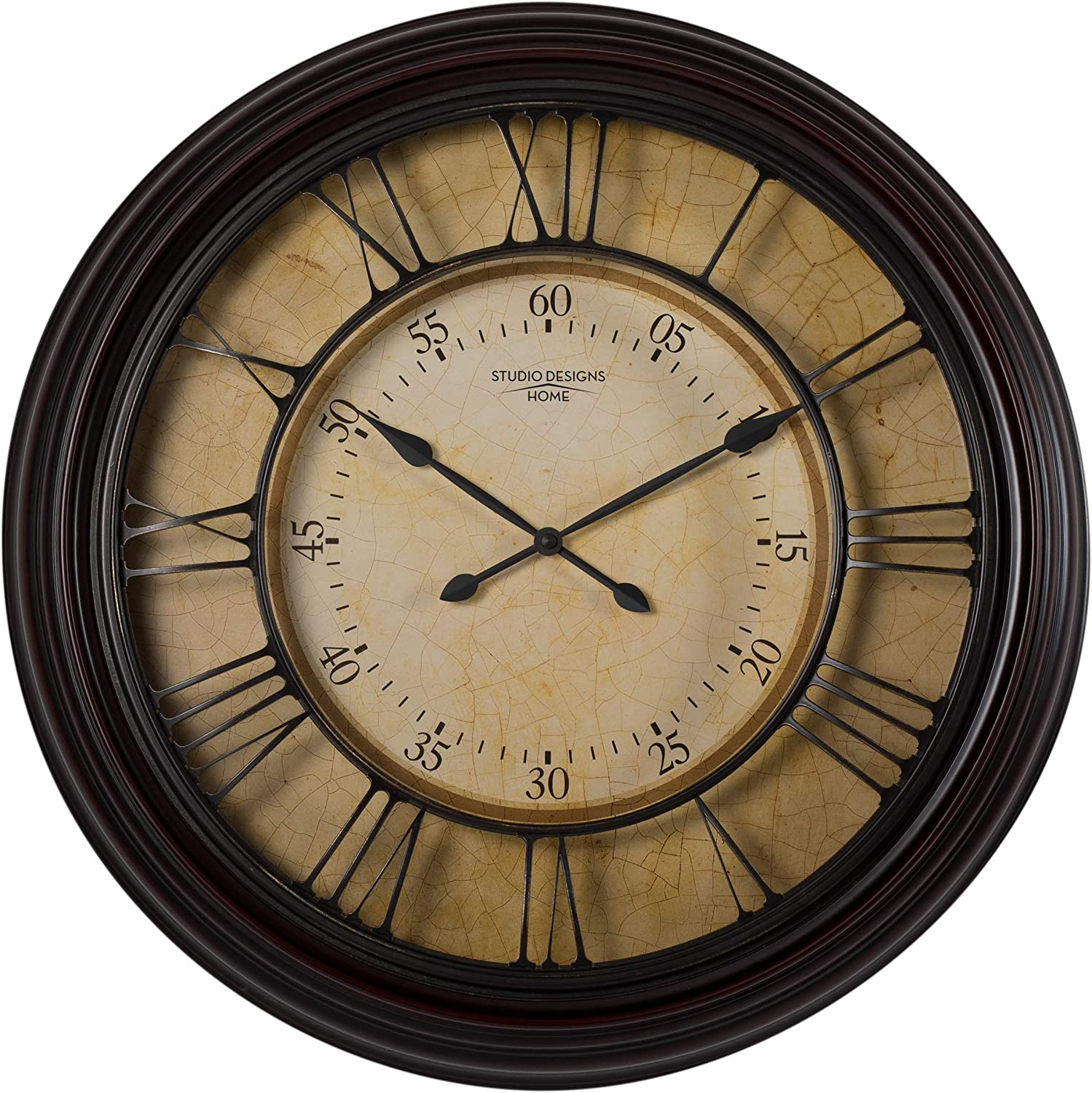 "Studio Designs Home 29"" Traditional Chateau Wall Clock, Dark Brown"