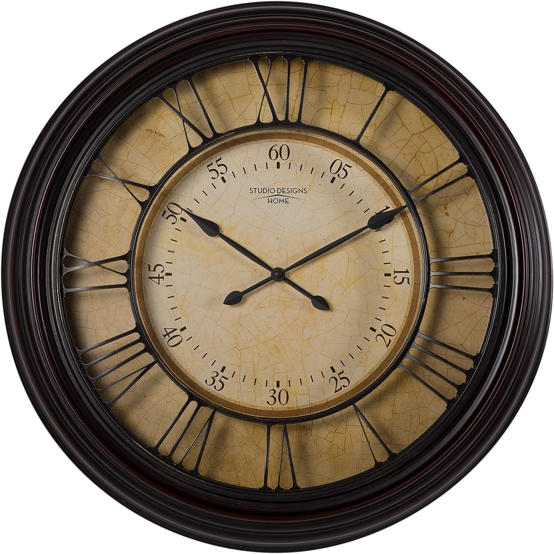 "Studio Designs Home 29"" Traditional Chateau Wall Clock, Dark Brown"