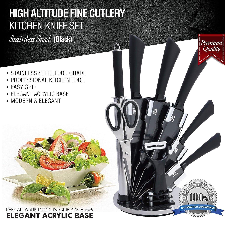9 pc stainless steel kitchen knife block set bonus