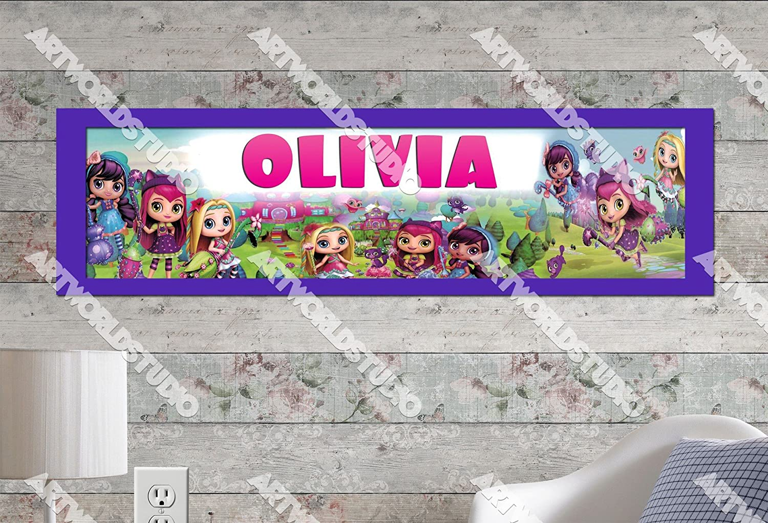 10x32 Personalized Name Poster with Border Mat Birthday Party Banner Customize Name Sign Little Charmers