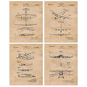 Vintage Bomber Airplanes Patent Art Poster Prints, Set of 4 (8x10) Unframed Photos, Great Wall Art Decor Gifts Under 20 for Home, Office, Garage, Man Cave, Student, Teacher, Military Veterans, Fan