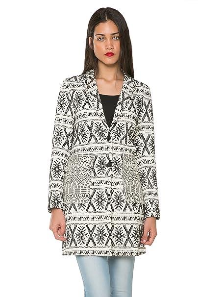 Desigual por L Asha tejida a mano abrigo de la mujer negro blanco y negro 44: Amazon.es: Ropa y accesorios
