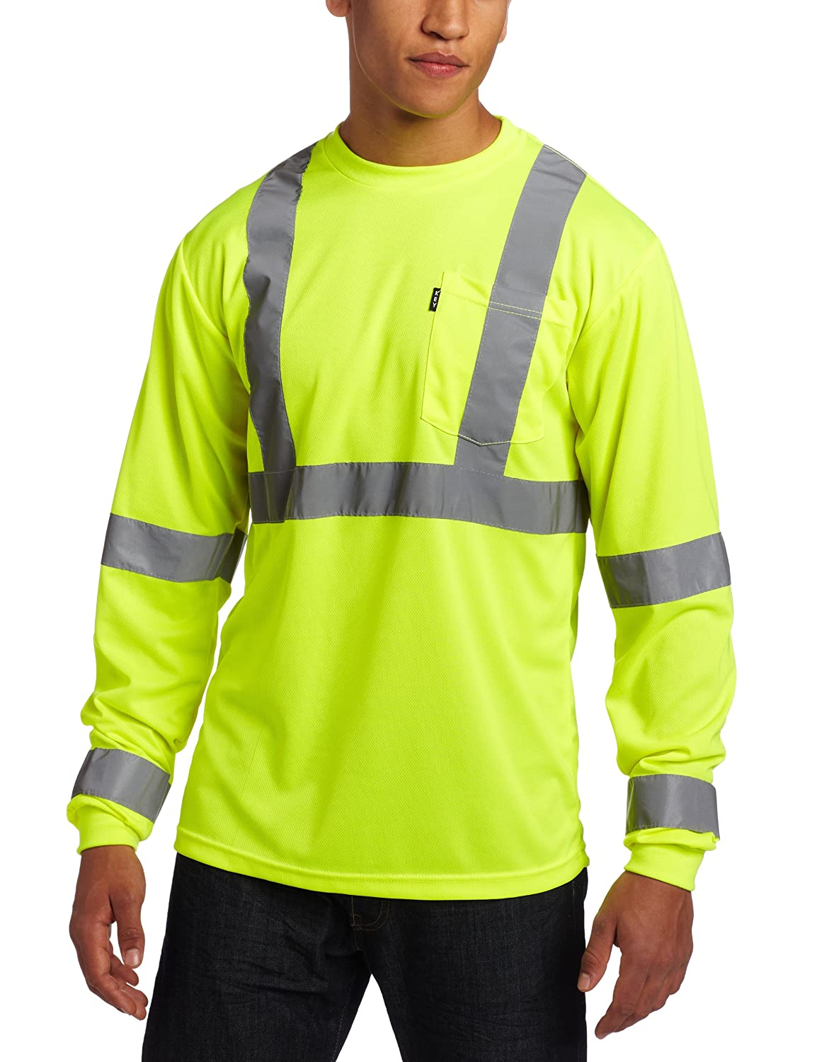 Key Apparel Men's ANSI II Class 3 Hi-Visibility Waffle knit Long Sleeve Pocket T-Shirt 848