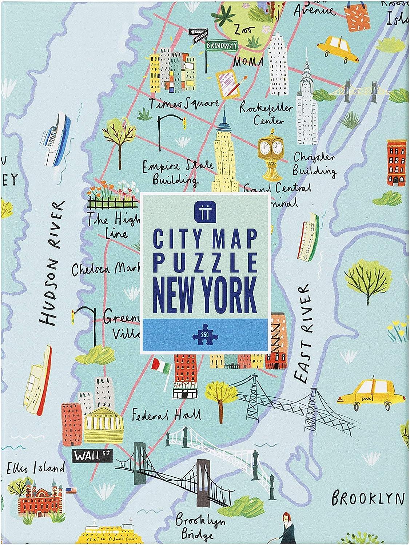 Talking Tables- Mapa Multicolor de 250 Piezas de Nueva York Jigsaw Puzzle & Poster | Ilustrado | Estados Unidos América NYC Monumentos Viajes cumpleaños, Color Puzzle (PUZZ-Map-NY): Amazon.es: Juguetes y juegos