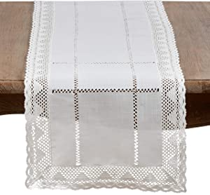 "SARO LIFESTYLE Dorothy Collection Embroidered White Lace Table Runner, 16"" x 72"""
