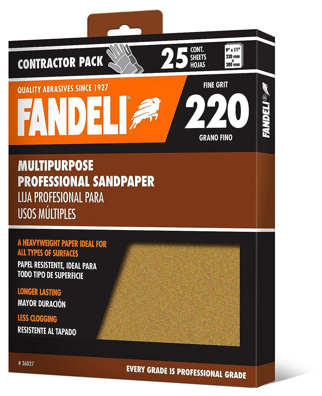 "Fandeli 36027 220 Grit Multipurpose Sandpaper Sheets, 9""x 11"", 25-Sheet"
