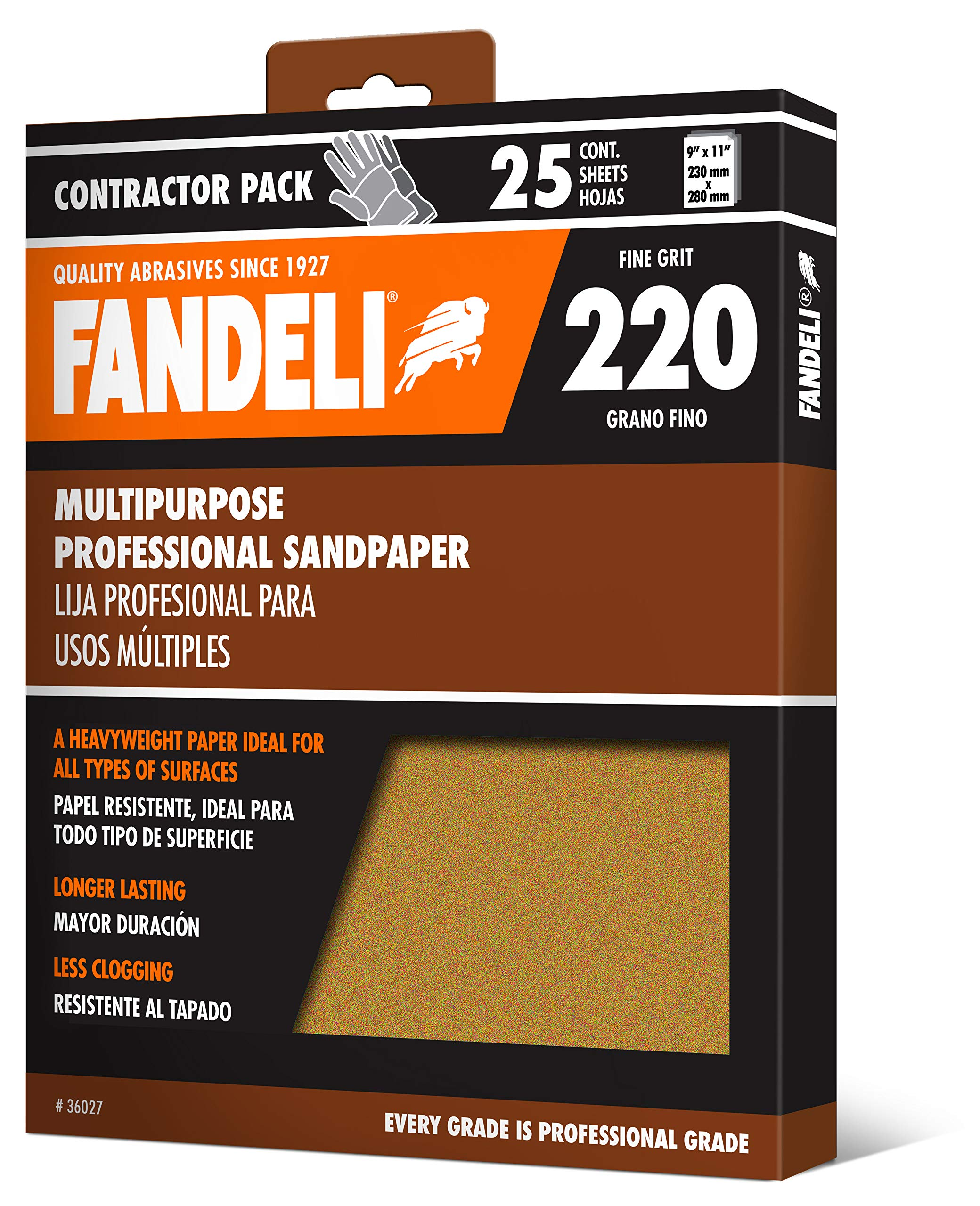 Fandeli 36027 220 Grit Multipurpose Sandpaper Sheets, 9''  x 11'', 25-Sheet by Fandeli
