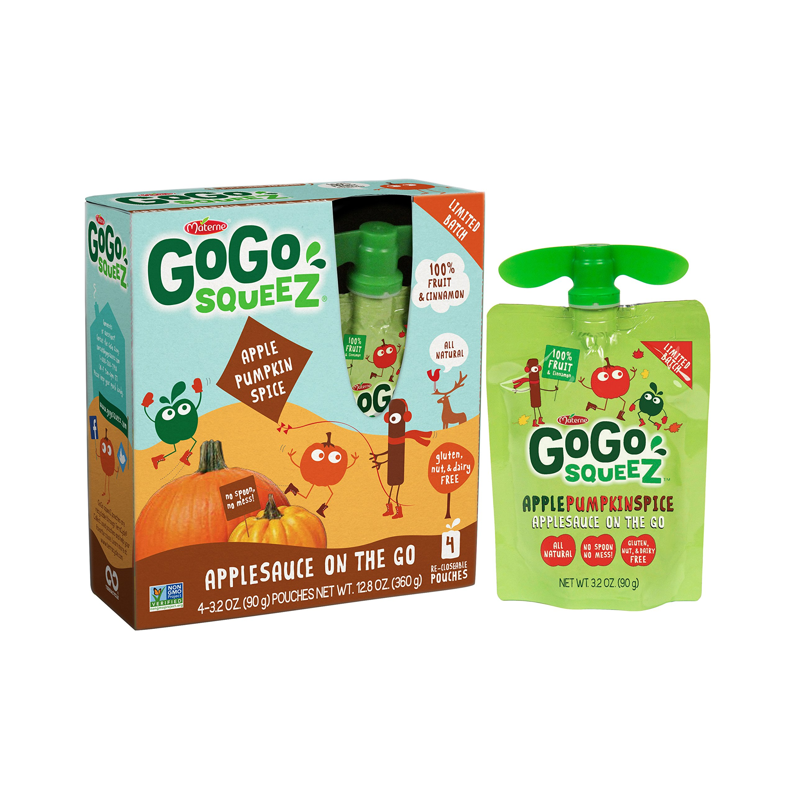 GoGo squeeZ Applesauce on the Go, Apple Pumpkin Spice, 3.2 Ounce Portable BPA-Free Pouches, Gluten-Free, 4 Total Pouches