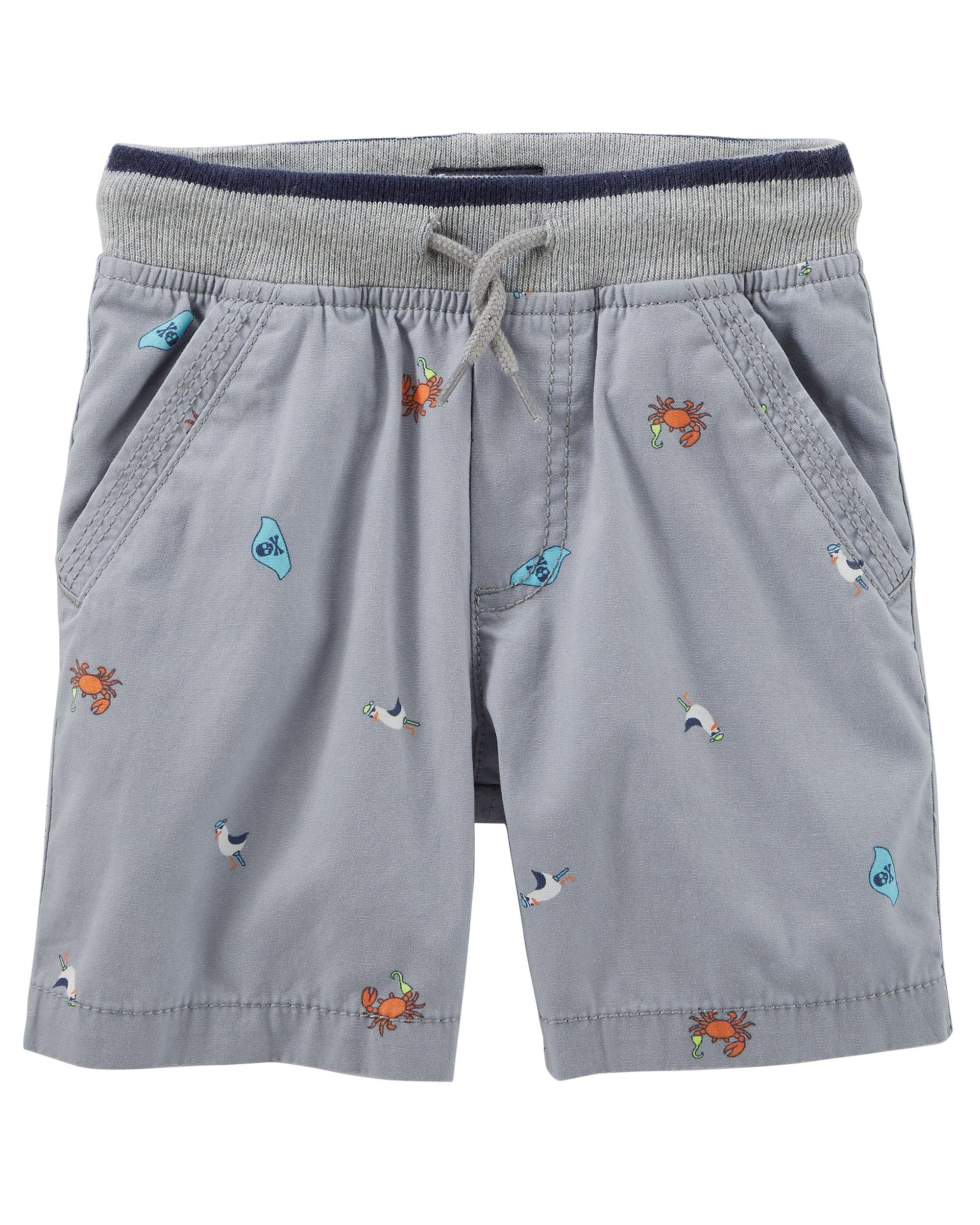 Osh Kosh Boys' Toddler Pull on Short, Grey Schiffli, 3T
