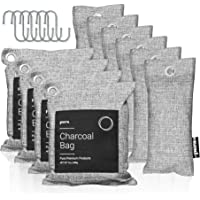 Pura Premium Activated Charcoal Bags Odor Absorber (16 Piece Set: 4x200g, 6x75g & 6 hooks) Powerful Bamboo Charcoal Air…