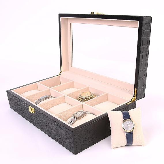 TRESKO® Caja de relojes caja para 8 relojes organizador de relojes caja relojero para almacenar relojes estuche para relojes con textura de piel de ...